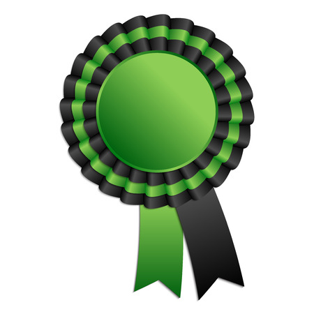 qualify: Black and green blank award rosette with ribbon Illustration