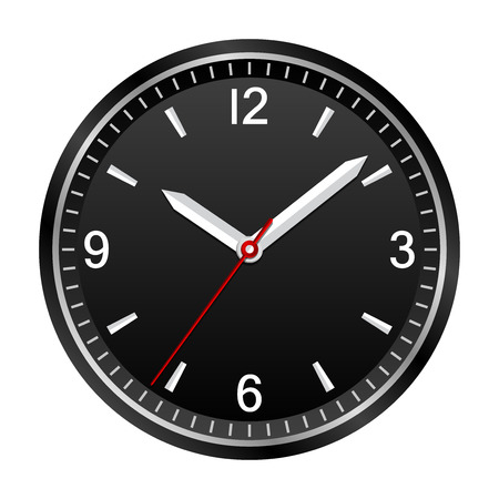 Wall analog clock shows 10:08:36, geometrically right angled arrows Illustration