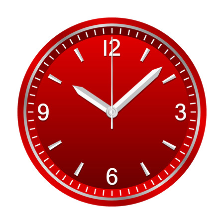 Wall analog clock shows 10:08, geometrically right angled arrows Ilustrace