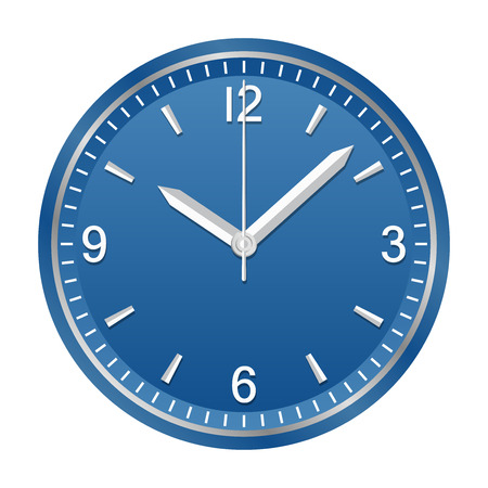 Wall analog clock shows 10:08, geometrically right angled arrows Illustration