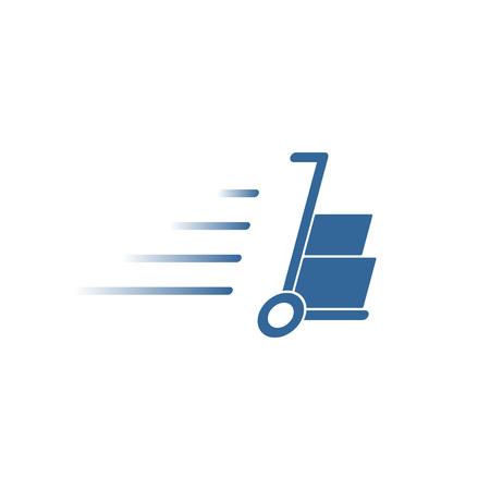 hand truck with cardboard boxes silhouette