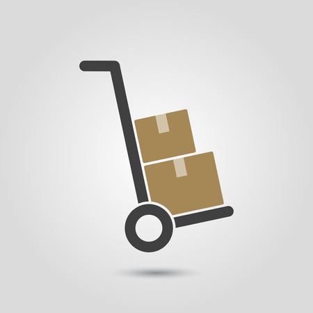 dolly: Hand truck with cardboard boxes silhouette