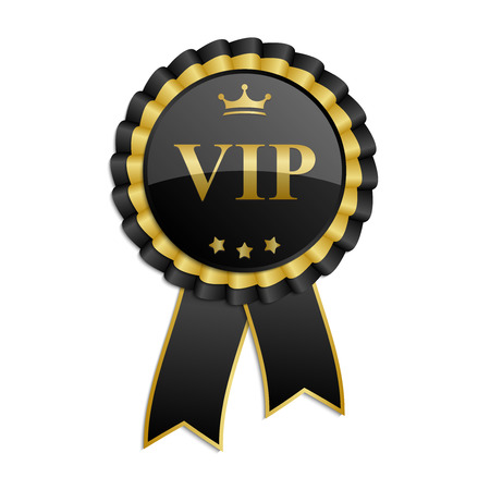 Black and gold Vip rosette with ribbon Ilustracja