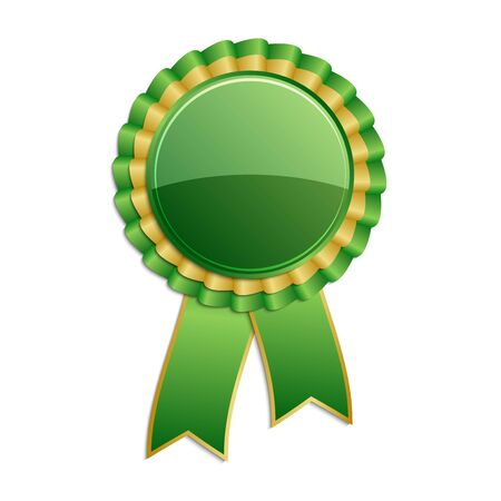 qualify: Gold and green award rosette with ribbon Illustration