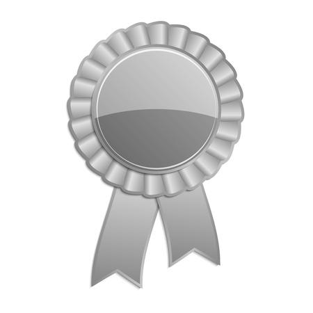 qualify: Silver grey blank award rosette with ribbon