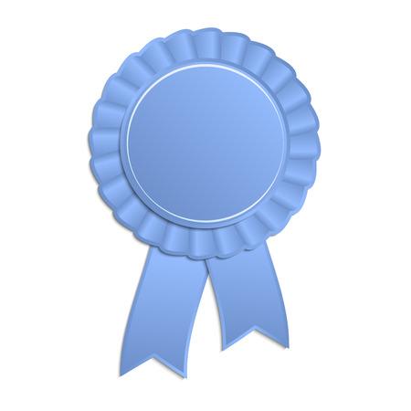 rosette: Blue blank award rosette with ribbon Illustration