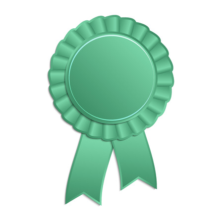 qualify: Green blank award rosette with ribbon