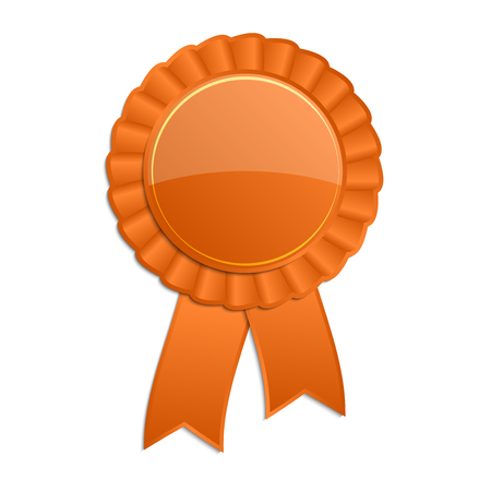 orange sign: Orange blank award rosette with ribbon