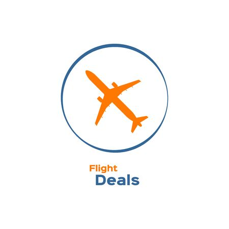 commercial airplane: Commercial airplane silhouette icon, flight deals sign