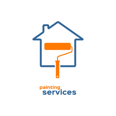 paint house: Painting services icon, roller brush and house silhouettes