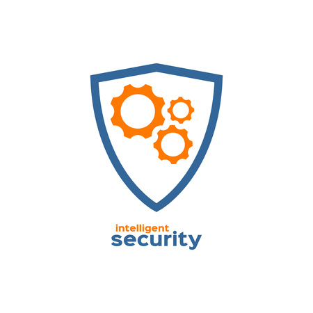 intelligent: Intelligent security shield silhouette icon Illustration