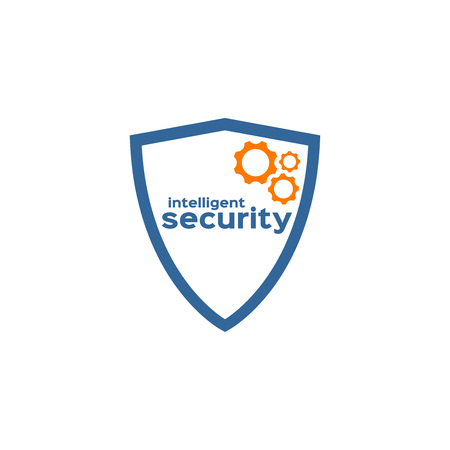 intelligent: Intelligent security shield silhouette logo Illustration