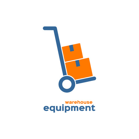 warehouse equipment: Warehouse equipment logo, hand truck with cardboard boxes silhouette Illustration