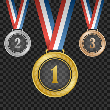 gold silver bronze: Gold, silver, bronze transparent award medals with ribbons on square background