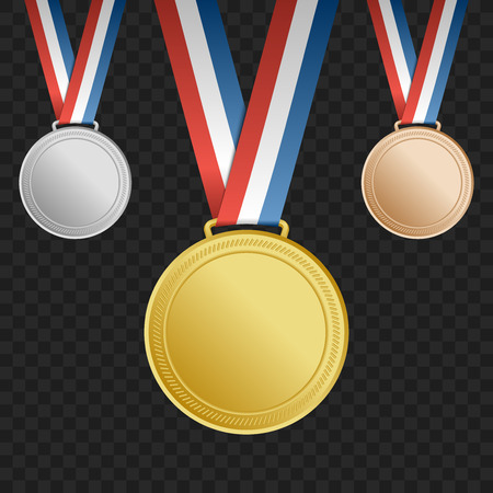 gold silver bronze: Gold, silver, bronze award medals with ribbons on square background