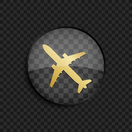 air liner: Black badge with gold airplane silhouette on square background Illustration