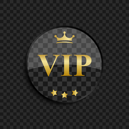 vip: Black and gold Vip badge on square background