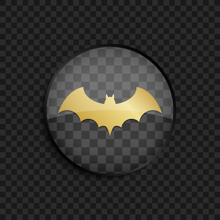 horrify: Black badge with gold bat silhouette on square background