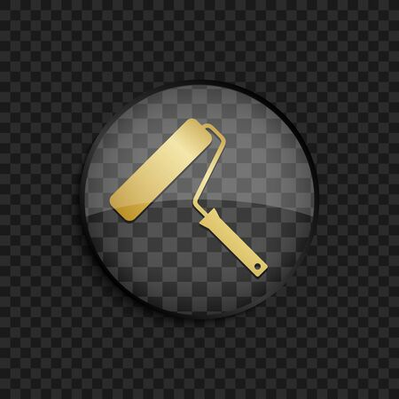 roller brush: Black badge with gold roller brush silhouette on square background Illustration