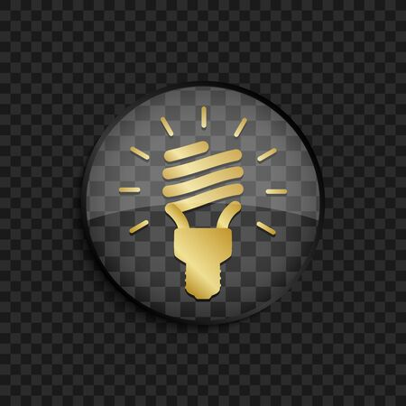 fluorescent lamp: Black badge with gold fluorescent lamp silhouette on square background