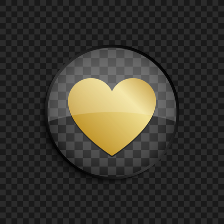gold heart: Black badge with gold heart silhouette on square background
