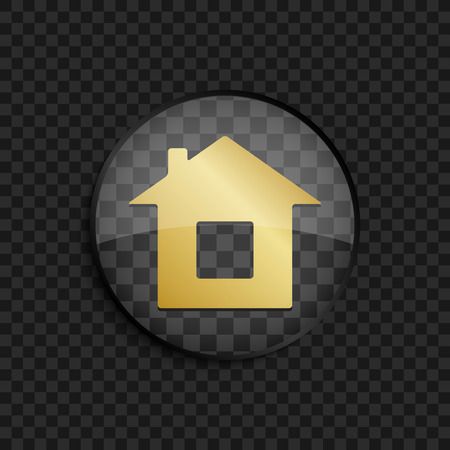 gold house: Black badge with gold house silhouette on square background Illustration