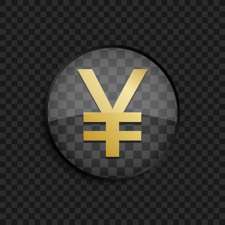japanese yen: Black badge with gold Japanese yen silhouette on square background