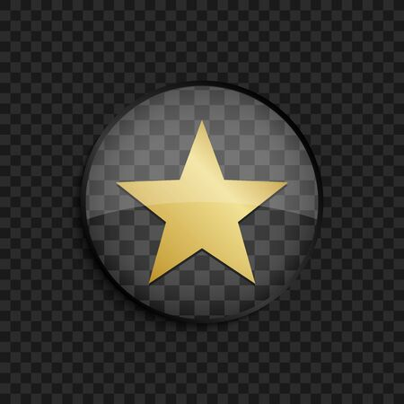 gold star: Black badge with gold star silhouette on square background