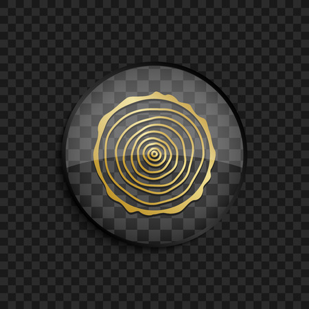 rings on a tree: Black badge with gold tree rings silhouette on square background Illustration