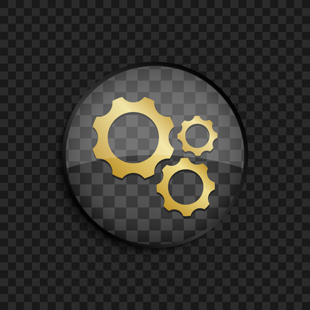 maschine: Black badge with gold different size gears silhouette on square background Illustration