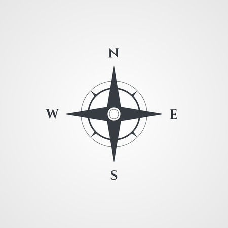 Wind rose, compass icon Illustration