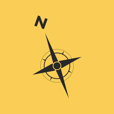 Wind rose, compass icon Illustration