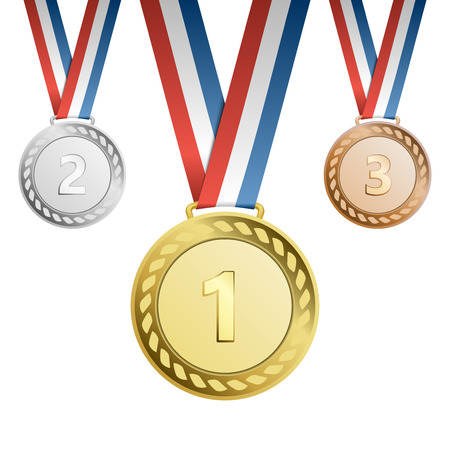 gold silver bronze: Gold, silver, bronze award medals with ribbons