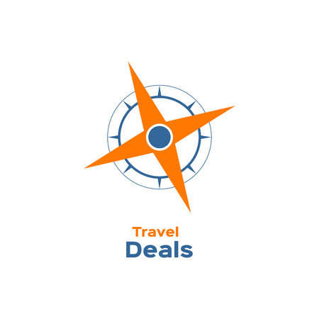 compass rose: Compass, wind rose icon, travel deals sign, logotype Illustration