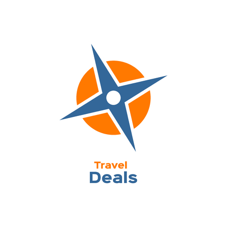 wind rose: Compass, wind rose icon, travel deals sign, logotype Illustration