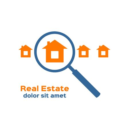 apartment search: House and magnifying glass icon, real estate sign, logotype