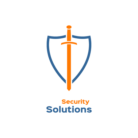 shielding: Security solutions logo, shield with sword silhouette