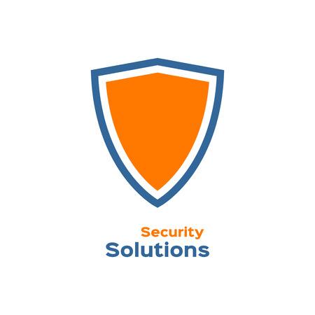Les solutions de sécurité logo, bouclier silhouette Banque d'images - 46186462