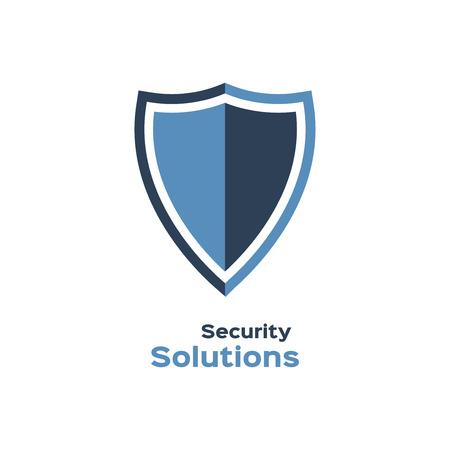 Beveiligingsoplossingen logo, schild silhouet Stock Illustratie