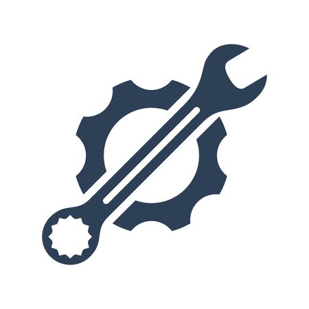 Moersleutel en versnelling pictogram, logo