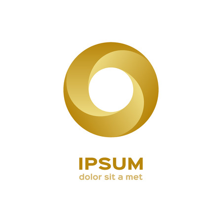 gold circle: Business logo, gold circle icon Illustration
