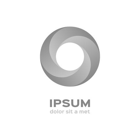 silver circle: Business logo, silver circle icon Vettoriali