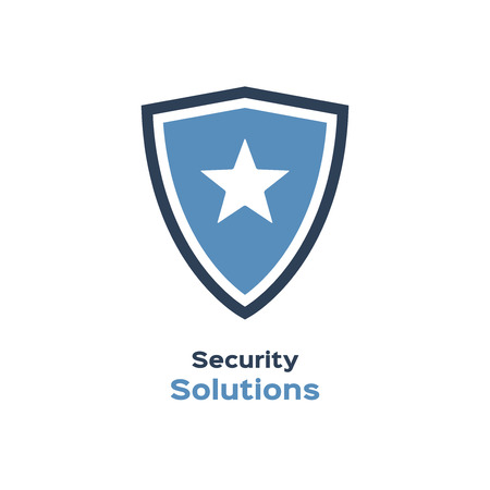 shielding: Security solutions icon, shield with star silhouette Illustration