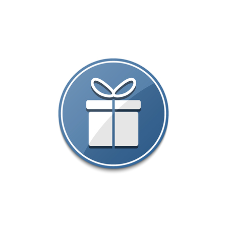 blue gift box: Blue gift box icon with shadow Illustration