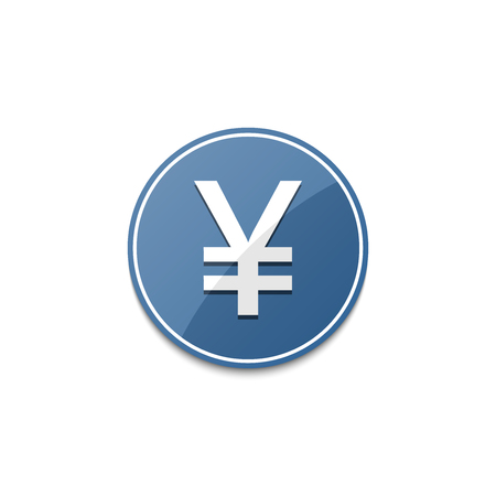 japanese yen: Blue Japanese yen icon with shadow