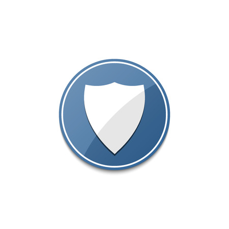 shielding: Blue shield icon with shadow Illustration