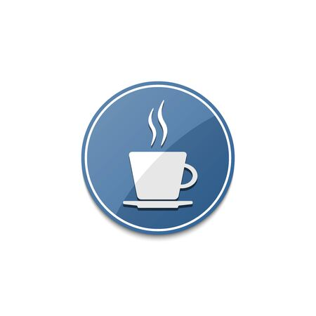 dinne: Blue coffee cup icon with shadow Illustration