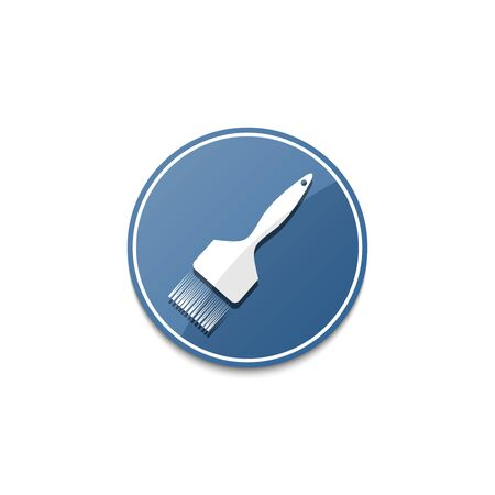 Blue paintbrush icon with shadow Illustration