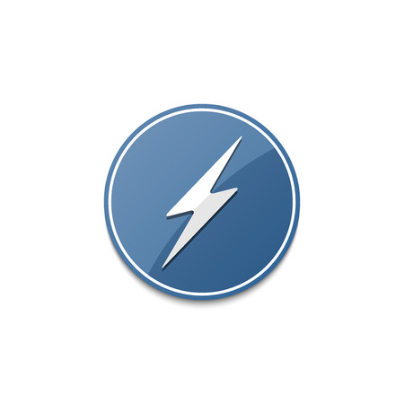 blue lightning: Blue lightning icon with shadow