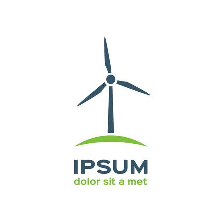 Wind turbine silhouette, logotype Vettoriali
